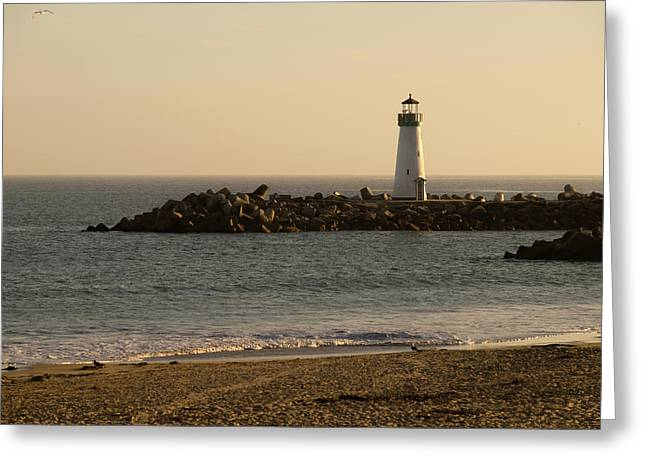 Sunset Over The Walton Lighthouse Greeting Card