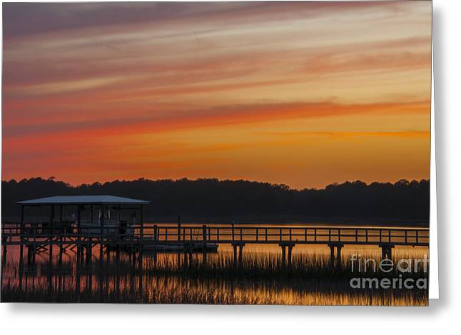 Greeting Card featuring the photograph Sunset Over The Wando River by Dale Powell