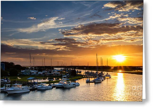 Sunset Over Tiger Point Marina Amelia Island Florida Greeting Card by Dawna  Moore Photography