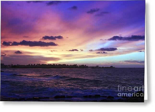 Greeting Card featuring the photograph Sunset Over Town And Sea Water by Mohamed Elkhamisy
