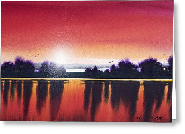 Sunset Over Two Lakes Greeting Card