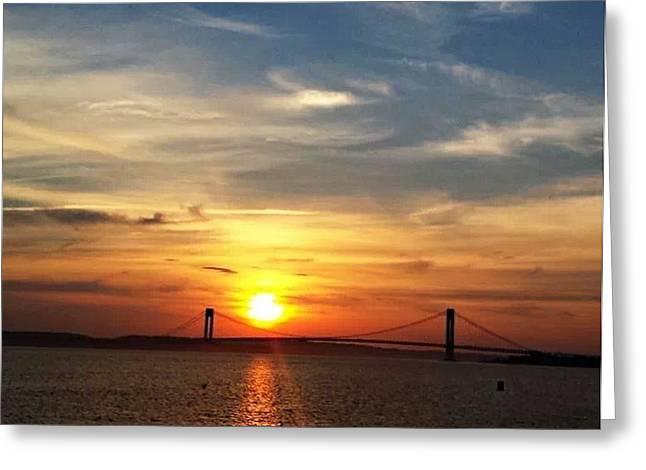 Sunset Over Verrazano Bridge Greeting Card