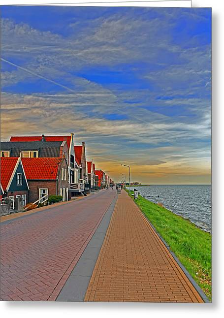 Sunset Over Volendam Greeting Card