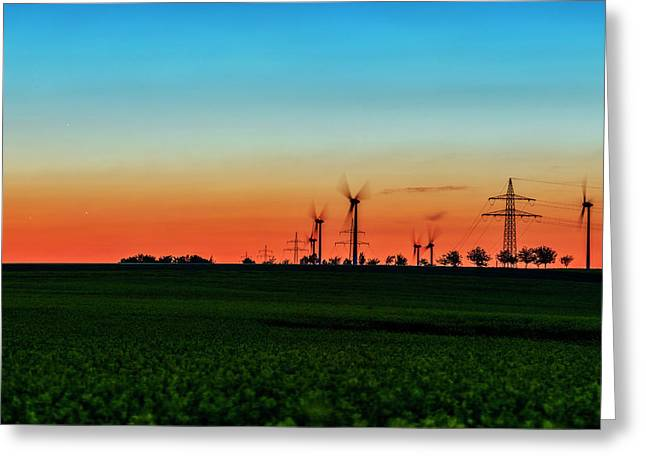 Sunset Over Wind Turbines Greeting Card