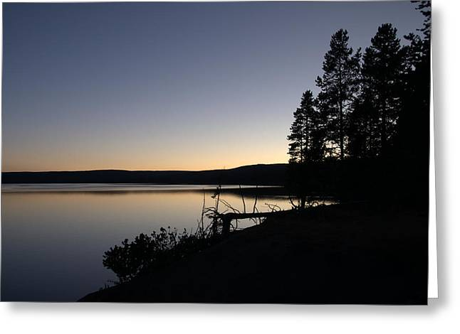 Sunset Over Yellowstone Lake Greeting Card