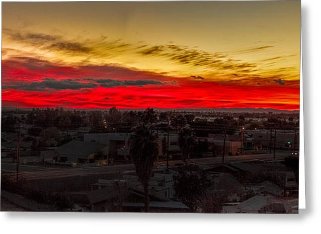 Sunset Over Yuma Greeting Card by Robert Bales