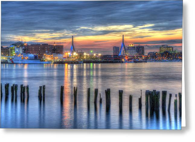Sunset Over Zakim Bridge And Boston Harbor Greeting Card by Joann Vitali