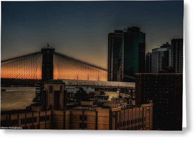 Greeting Card featuring the photograph Sunset Overlooking The Brooklyn Bridge New York by Linda Karlin