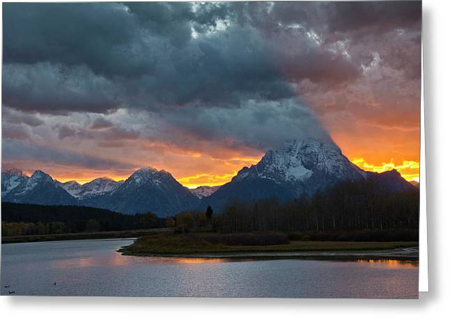 Sunset, Oxbow, Mount Moran, Grand Teton Greeting Card