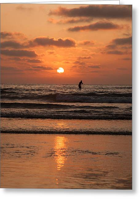 Sunset Paddle Greeting Card by Sonny Marcyan