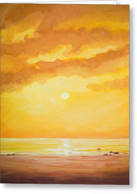Sunset Painting Greeting Card by Lutz Baar