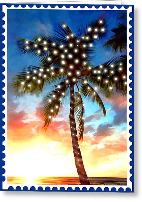 Sunset Palm Tree With Xmas Lights Stamp Greeting Card by Elaine Plesser