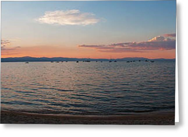 Greeting Card featuring the photograph Sunset Panorama At Lake Tahoe California by Paul Topp