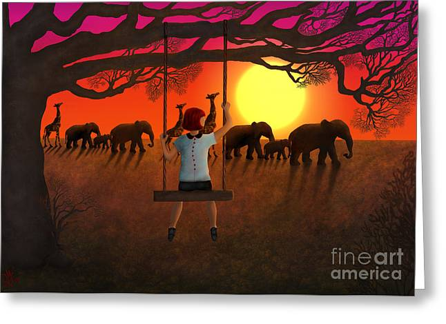 Sunset Parade Greeting Card by Rosa Cobos