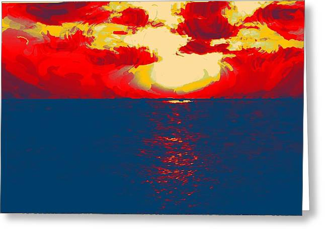 Sunset Paradise Greeting Card by Peter Waters