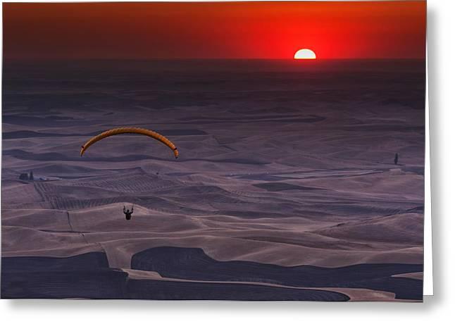 Sunset Paragliding Greeting Card