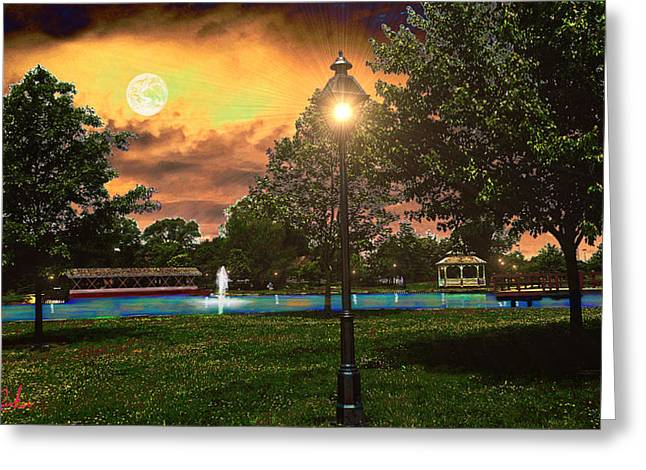 Sunset Park Greeting Card by Michael Rucker