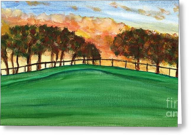 Sunset Pasture Greeting Card by Larry Farris