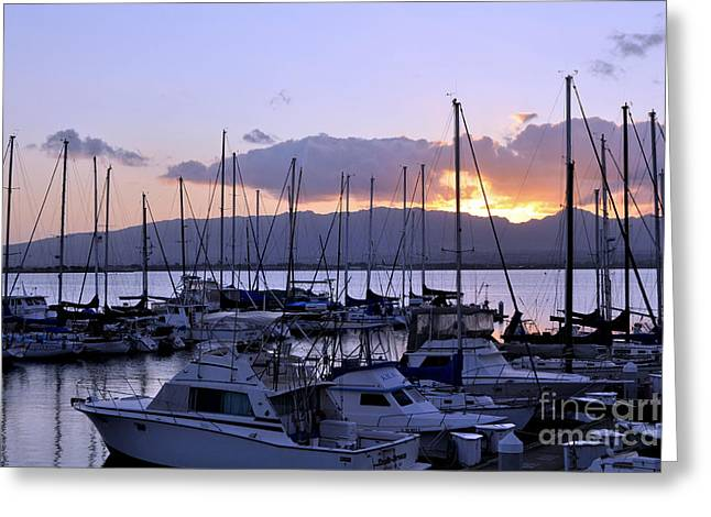 Greeting Card featuring the photograph Sunset Pearl Harbor by Gina Savage
