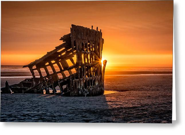 Sunset Peter Iredale Greeting Card by James Hammond
