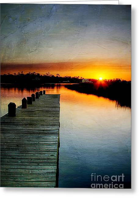 Sunset Pier Greeting Card by Joan McCool