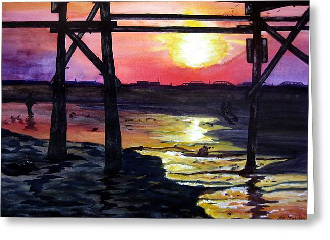 Greeting Card featuring the painting Sunset Pier by Lil Taylor