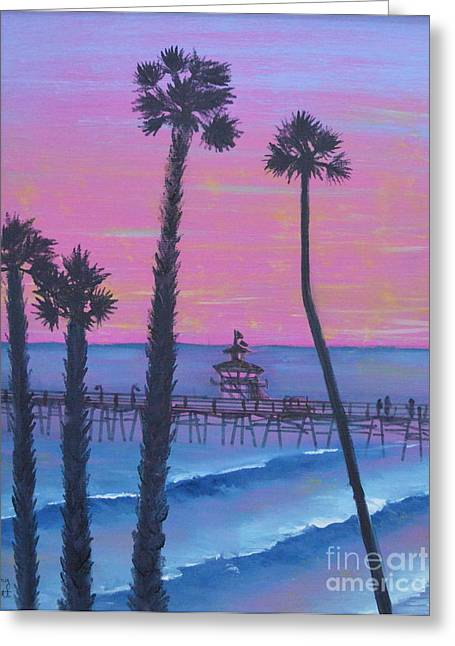 Greeting Card featuring the painting Sunset Pier by Mary Scott