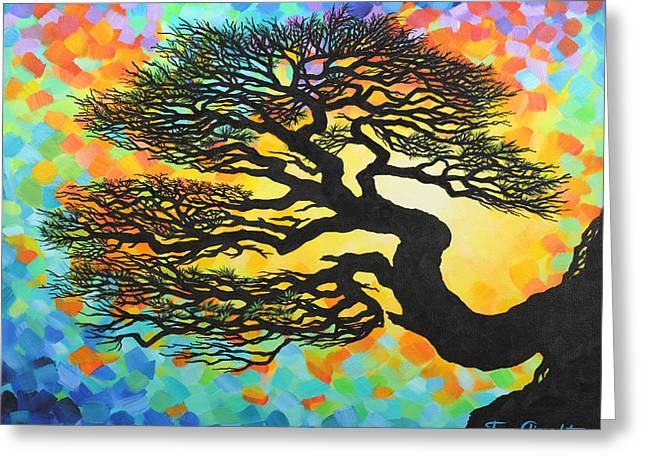 Greeting Card featuring the painting Sunset Pine by Jane Girardot
