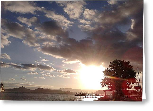 Sunset Ponta Da Praia Santos Brazil Greeting Card by Vera Radoja de Vasconcelos