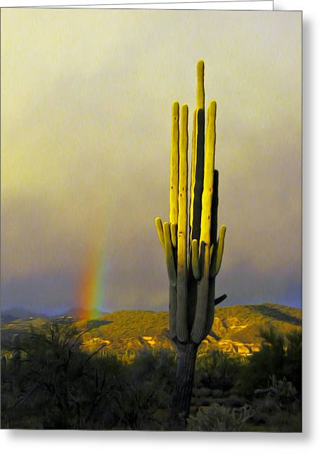 Greeting Card featuring the photograph Sunset Rainbow Cactus by John Haldane
