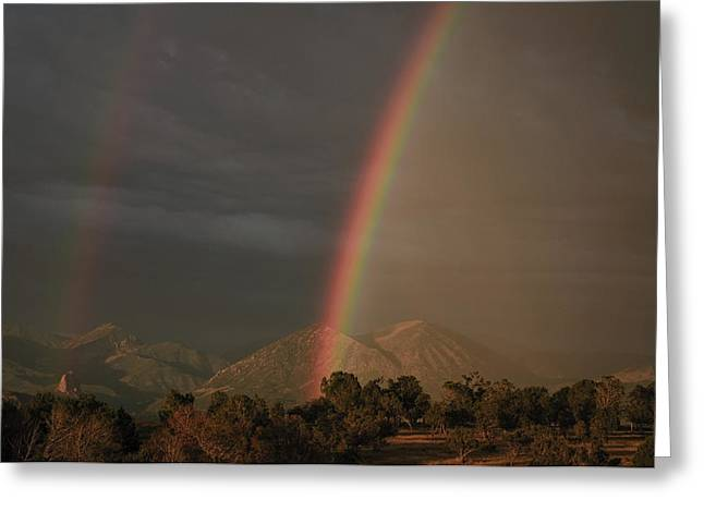 Sunset Rainbow Left Greeting Card by Eric Rundle