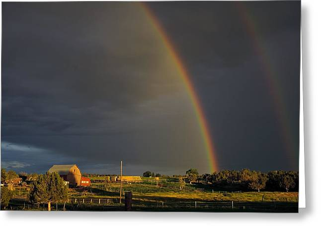 Sunset Rainbow Right Greeting Card by Eric Rundle