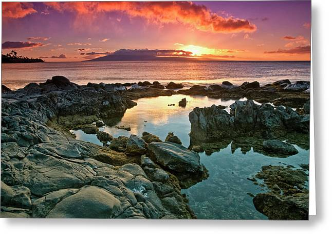Sunset Reflected In The Tranquil Tide Greeting Card by Scott Mead