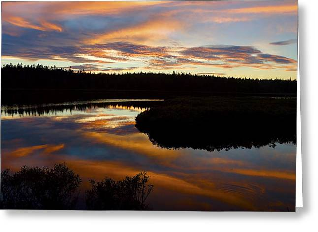 Seawall Greeting Cards - Sunset Reflecting Off Seawall Pond Acadia National Park Photograph Greeting Card by Keith Webber Jr