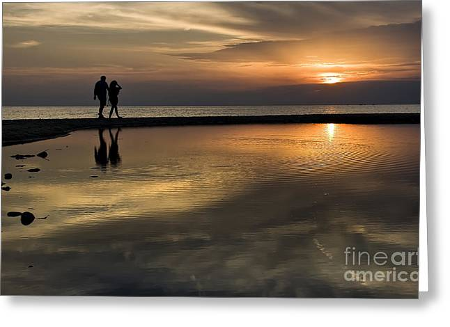 Sunset Reflection And Silhouettes Greeting Card by Daliana Pacuraru