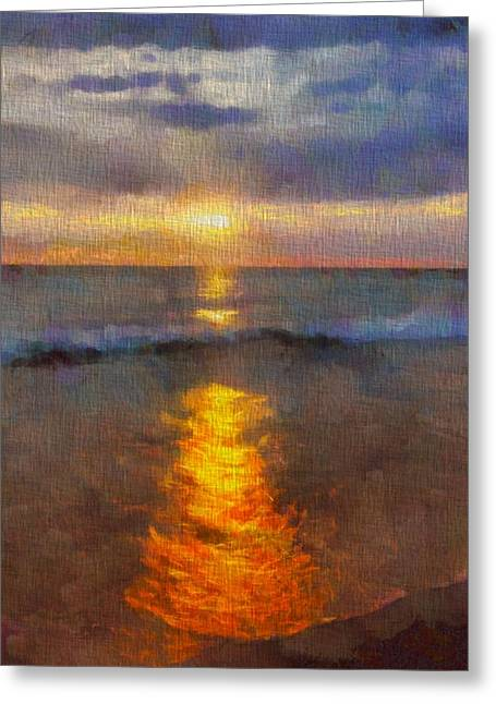 Sunset Reflection At Sleeping Bear Dunes Greeting Card
