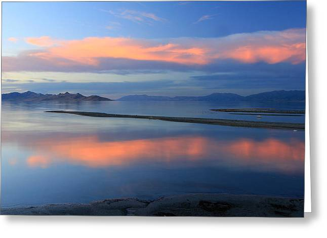 Sunset Reflection At The Great Salt Lake Greeting Card by Johnny Adolphson