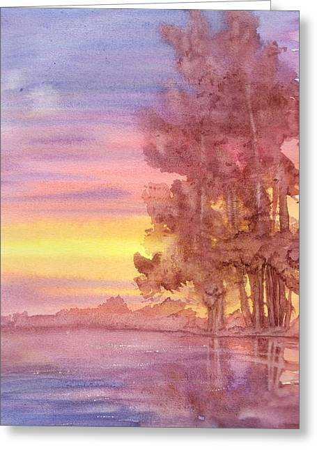 Greeting Card featuring the painting Sunset Reflection by Rebecca Davis