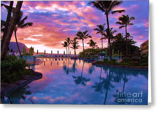 Sunset Reflection St Regis Pool Greeting Card