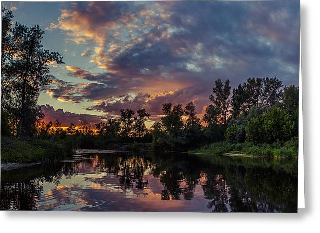 Greeting Card featuring the photograph Sunset Reflections by Dmytro Korol