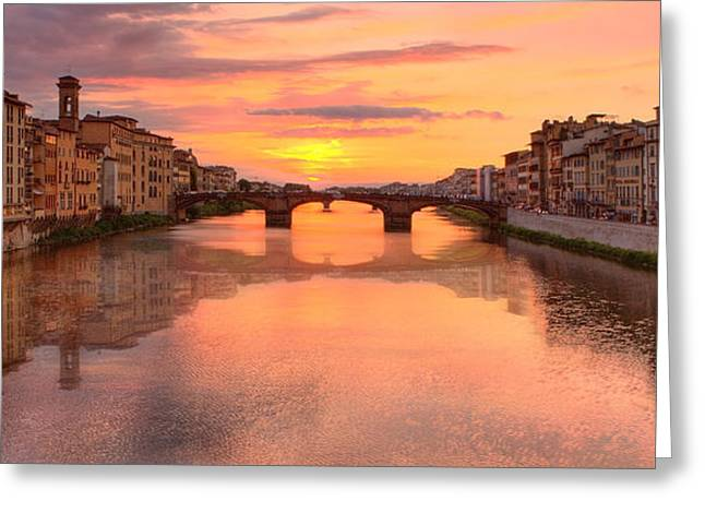 Sunset Reflections In Florence Italy Greeting Card