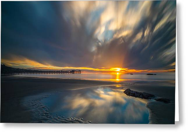 Sunset Reflections In San Diego Square Version Greeting Card by Larry Marshall