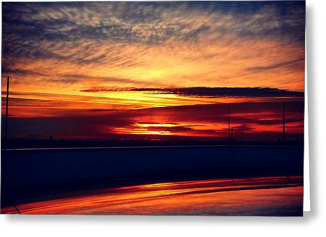 Sunset Puddle Reflections Greeting Card by Jacks Skystore