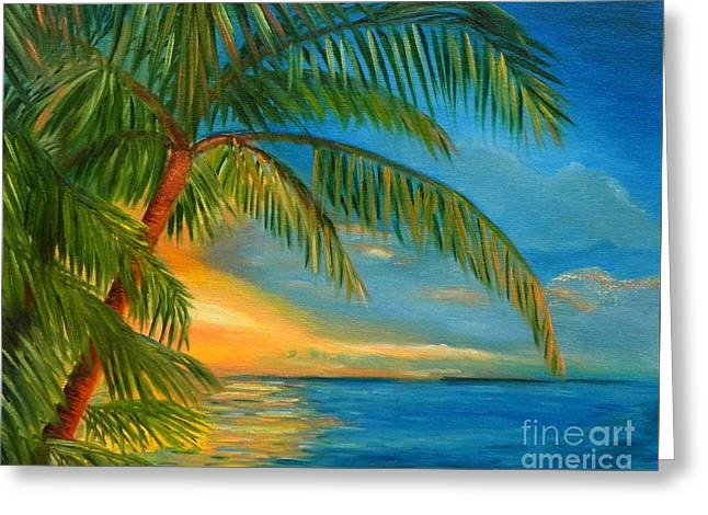 Greeting Card featuring the painting Sunset Reflections - Key West Sunset And Palm Trees by Shelia Kempf