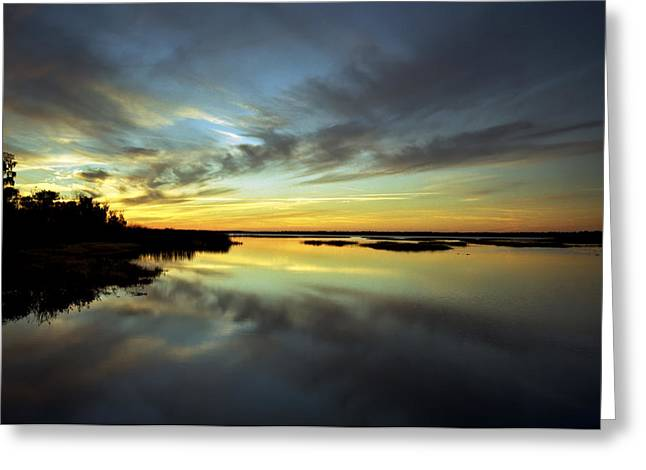 Sunset Reflections. Lake Gentry. Greeting Card by Chris  Kusik