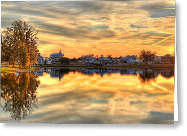 Sunset Reflections Greeting Card by Leslie Kirk
