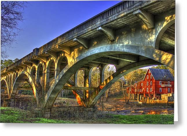 Sunset Reflections Millmore Mill Ga Hwy 16 Bridge Hancock County Greeting Card by Reid Callaway