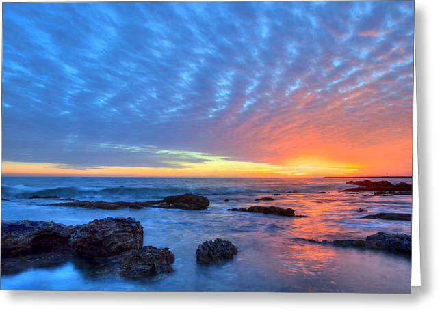 Sunset Reflections Newport Beach Greeting Card