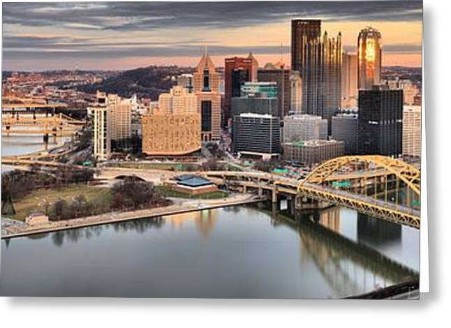 Sunset Reflections Of Pittsburgh Greeting Card by Adam Jewell