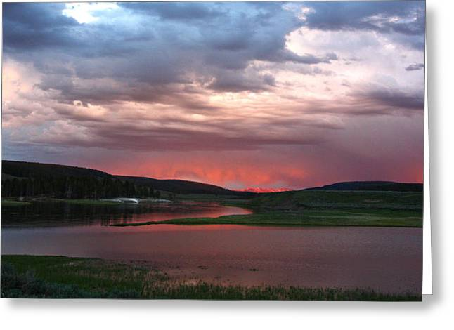 Sunset Reflections Over Yellowstone River In Hayden Valley Greeting Card